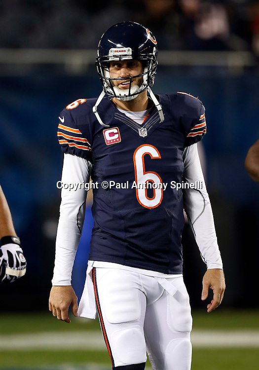 Chicago Bears quarterback Jay Cutler (6) looks on during the NFL week 7 football game against the Detroit Lions on Monday, Oct. 22, 2012 in Chicago. The Bears won the game 13-7. ©Paul Anthony Spinelli