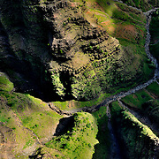 This photo was taken on the western side of the island of Kauai.  I shot this from a helicopter.  I think that this is a view of Olokele Canyon, but I can't be certain.  We were going from Lihue right through to the Napali Coast and going through Olokele and Waimea Canyons on the way.