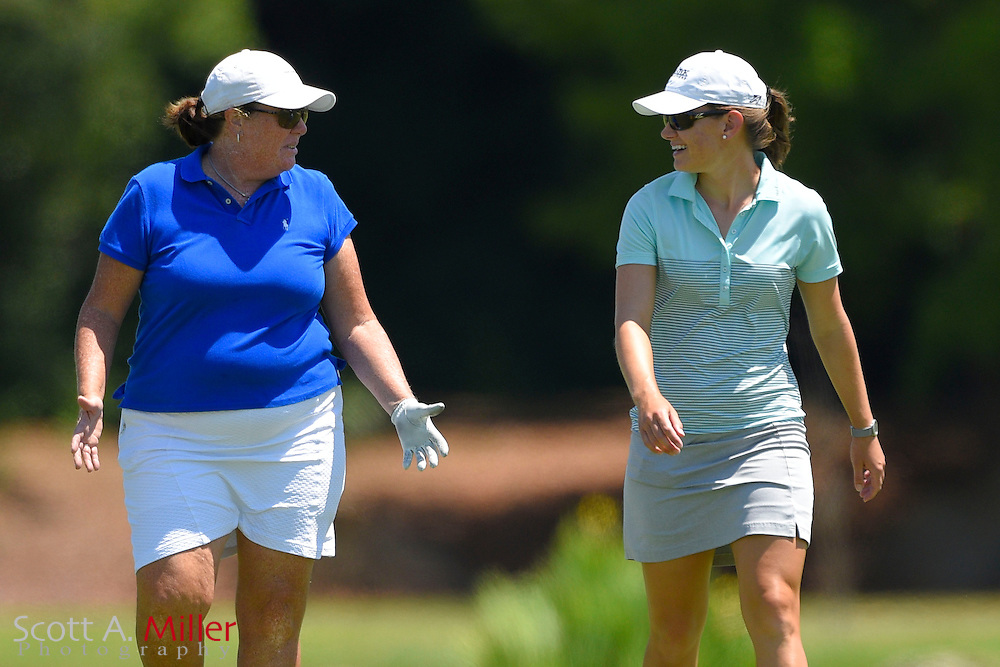 Cindy LaCrosse and Meg Mallon during the final round of the Chico's Patty Berg Memorial on April 19, 2015 in Fort Myers, Florida. The tournament feature golfers from both the Symetra and Legends Tours.<br /> <br /> &copy;2015 Scott A. Miller