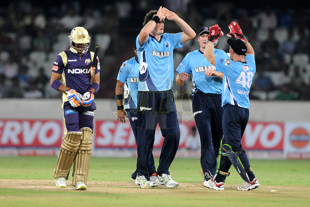 Kyle Mills of Auckland Aces celebrate a wicket  during the CLT20 - Q2 match between Kolkata Knight Riders and Auckland Aces held at the Rajiv Gandhi International Stadium, Hyderabad on the 19th September 2011..Photo by Pal Pillai/BCCI/SPORTZPICS