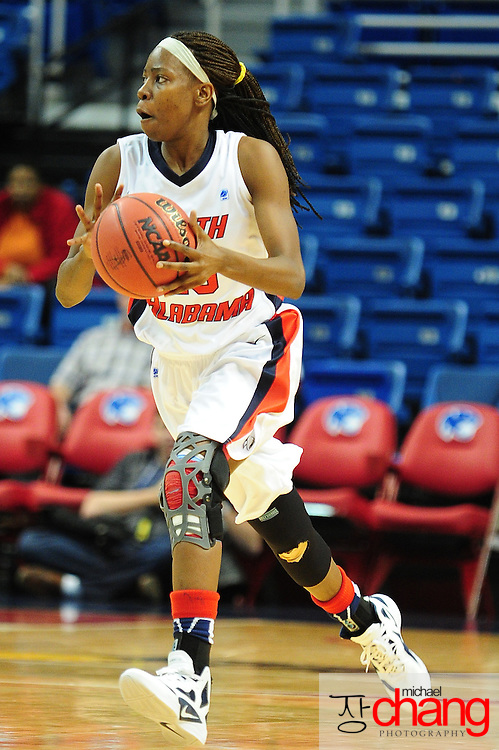 South Alabama's guard, Mary Nixon (23), prepares to pass the ball in the second half of play in Mobile, AL. South Alabama defeated Denver 57-51 on Jan 7, 2012...