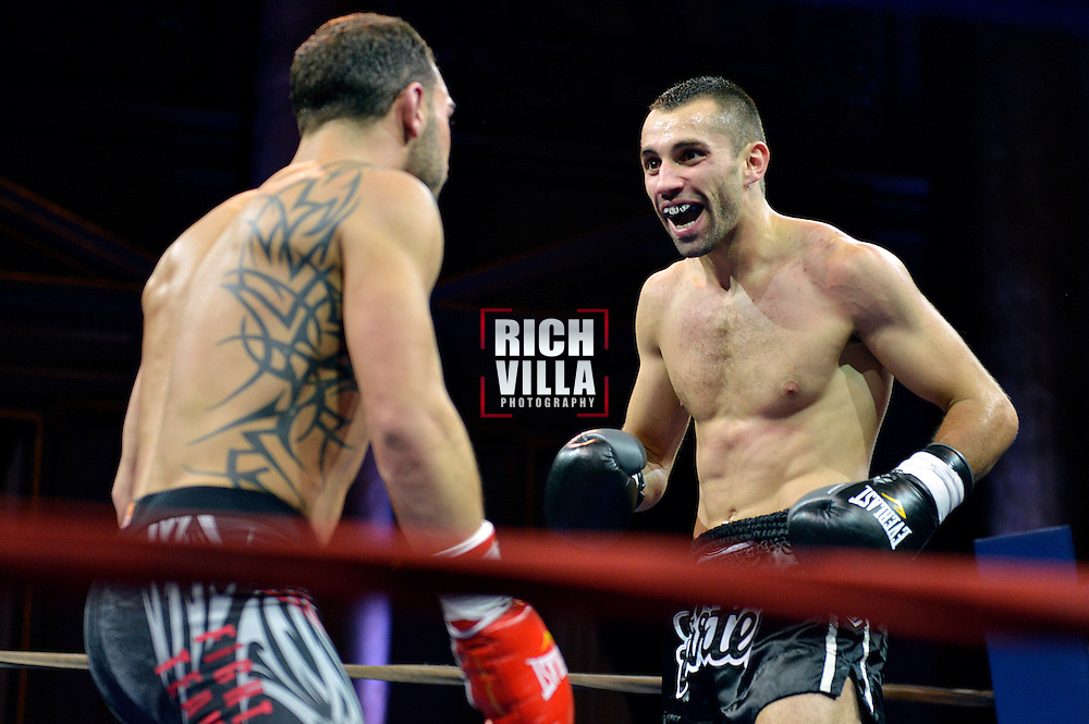 Nick Pace(lLeft) is taunted by Niko Tsigaras(Right) at Combat at the Capitale at the Capitale Theater in New York City on September 27, 2013