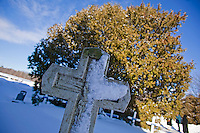 "CHAMPION, WI - DECEMBER 22: The grave marker for Sister Adele Brise is covered from a recent snow at the Shrine of Our Lady of Good Help in a small rural town in northern Wisconsin, December 22, 2010 in Champion, Wisconsin. After years of research, the Bishop of Green Bay determined that the sightings of Mary ""clothed in dazzling white"" are indeed ""worthy of belief"" and now have now been officially sanctioned as real by the Vatican. This shrine is the first of such for the United States and now joins the company of Lourdes and Fatima.   (Darren Hauck )"