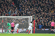 England Midfielder Wayne Rooney and England fans celebrate the first goal 1-0 scored by England Forward Daniel Sturridge during the FIFA World Cup Qualifier group stage match between England and Scotland at Wembley Stadium, London, England on 11 November 2016. Photo by Phil Duncan.