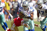 18 September 2011: Cornerback (20) Allan Ball of the Dallas Cowboys intercepts a pass against the San Francisco 49ers during the second half of the Cowboys 27-24 overtime victory against the 49ers in an NFL football game at Candlestick Park in San Francisco, CA.