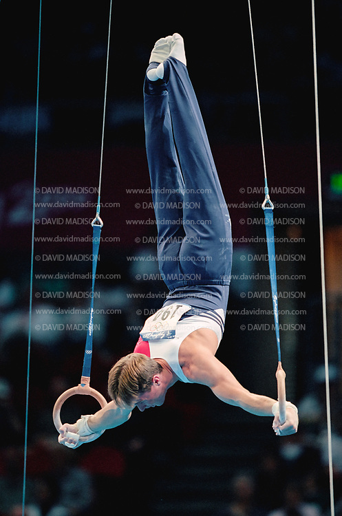 SYDNEY - SEPTEMBER 1:  Paul Hamm of the United States competes on the still rings during the Men's Gymnastics events of the Olympic Games during September 2000 in Sydney, Australia.  (Photo by David Madison/Getty Images)
