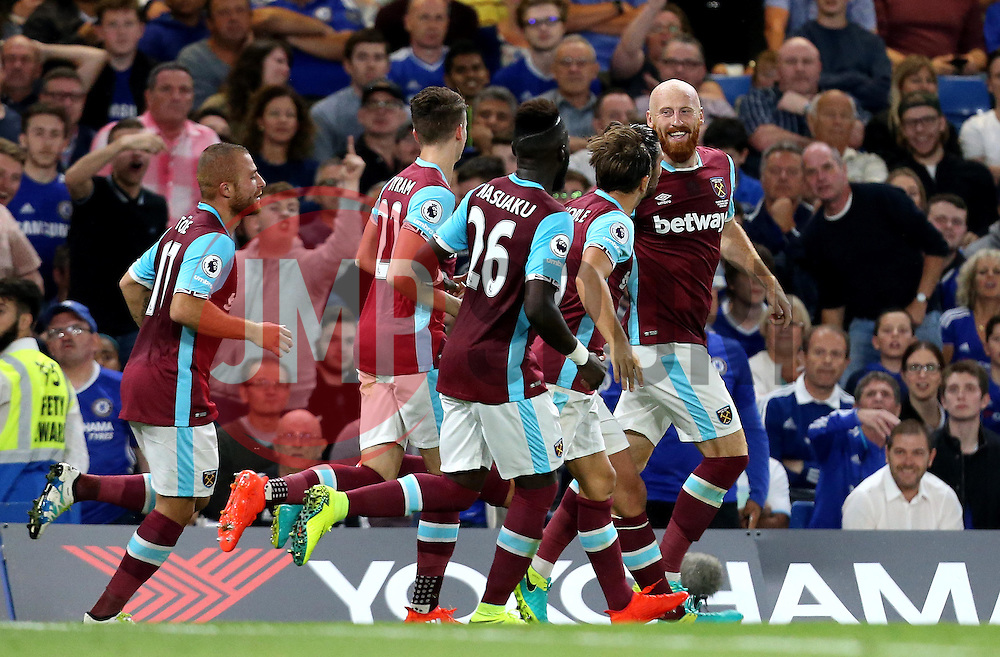 James Collins of West Ham United celebrates with teammates after scoring an equalising goal against Chelsea- Mandatory by-line: Robbie Stephenson/JMP - 15/08/2016 - FOOTBALL - Stamford Bridge - London, England - Chelsea v West Ham United - Premier League