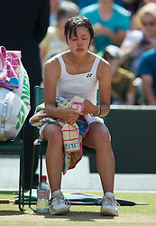 LONDON, ENGLAND - Saturday, July 3rd, 2010: Sachie Ishizu (JPN) looks dejected as she burts into tears after losing the Girls' Singles Final match on day twelve of the Wimbledon Lawn Tennis Championships at the All England Lawn Tennis and Croquet Club. (Pic by David Rawcliffe/Propaganda)