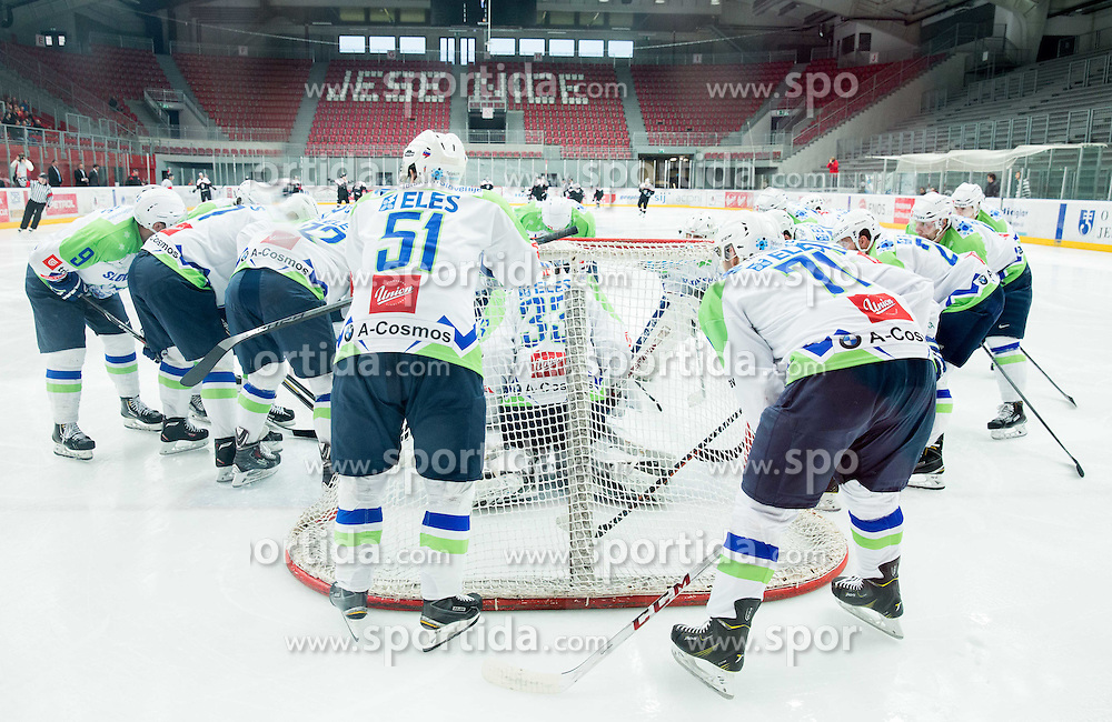 Team of Slovenia  prior to the ice-hockey friendly match between National teams of Slovenia and Japan, on April 15, 2015 in Arena Podmezakla, Jesenice, Slovenia. Photo by Vid Ponikvar / Sportida