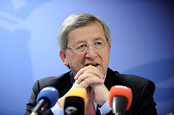 Jean-Claude Juncker, Luxembourg's prime minister, speaks during a news conference following the European Union summit at EU headquarters in Brussels, Belgium, on Sunday, March. 1, 2009. .Photo © Jock Fistick)