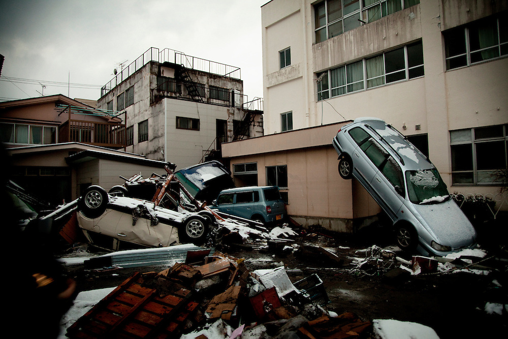 Tsunami damage is seen in a residential area in the town of Miyako after the earthquake and tsunami hit the city on 11 March 2011.