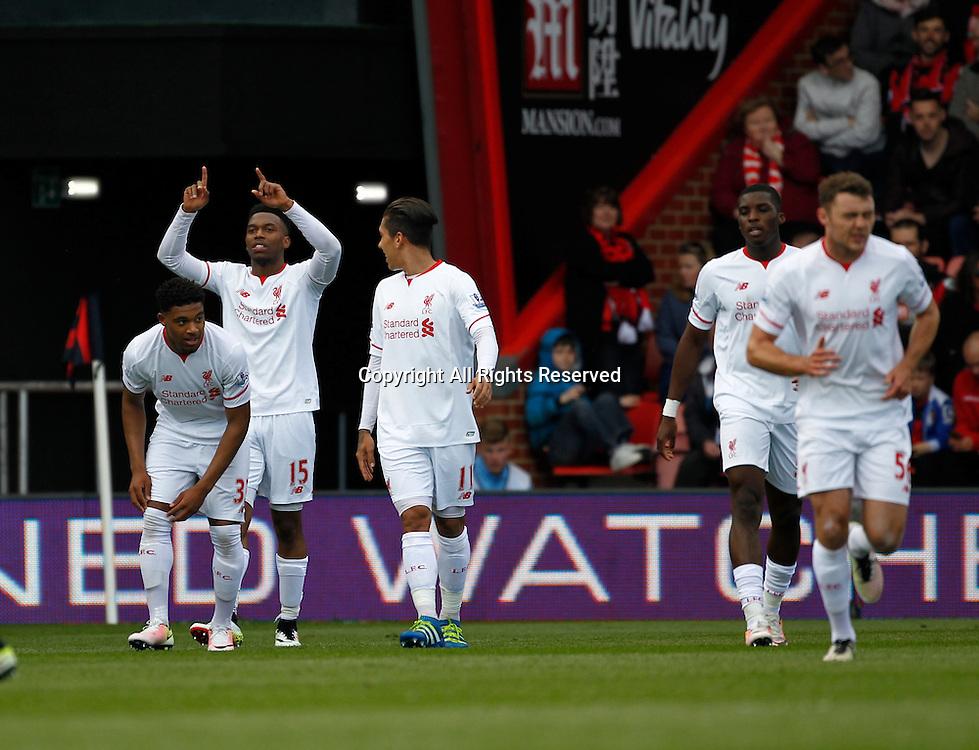 17.04.2016. Vitality Stadium, Bournemouth, England. Barclays Premier League. Bournemouth versus Liverpool. Liverpool striker Daniel Sturridge (15) celebrates after scoring his team's second goal.