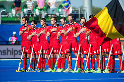 Belgium line up for the anthems. Belgium v Germany - Unibet EuroHockey Championships, Lee Valley Hockey & Tennis Centre, London, UK on 22 August 2015. Photo: Simon Parker