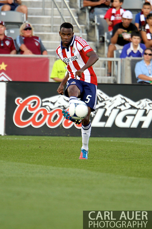 August 18th, 2012: Chivas USA defender John Valencia (5) passes the ball in the first half against the Colorado Rapids at Dick's Sporting Goods Park