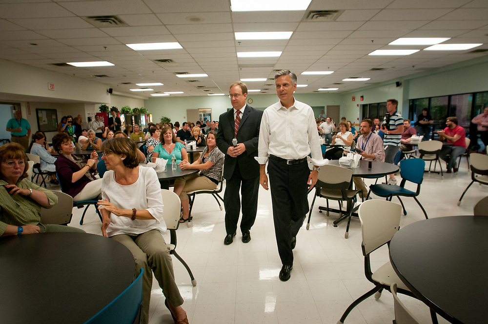 Former Ambassador to China and former Utah Gov. Jon Huntsman  talks to employees while touring Cirtronics, an employee owned electronic contract assembly company, Milford, NH. 2nd of August 2011.
