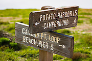 Trail sign at Scorpion Ranch, Santa Cruz island, Channel Islands National Park, California USA