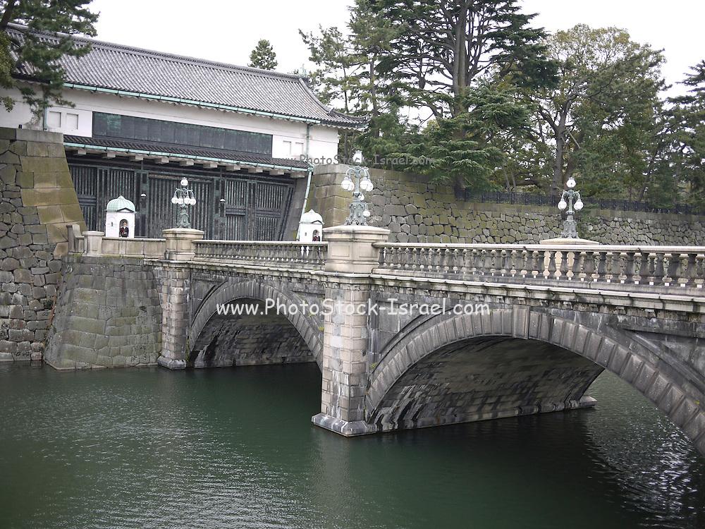 Japan, Tokyo, View of Nijubashi bridge at Imperial Palace