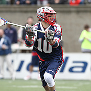Stephen Berger #10 of the Boston Cannons controls the ball during the game at Harvard Stadium on April 27, 2014 in Boston, Massachusetts. (Photo by Elan Kawesch)