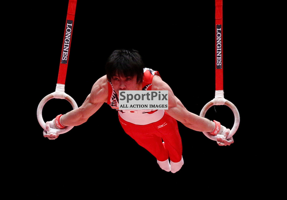 2015 Artistic Gymnastics World Championships being held in Glasgow from 23rd October to 1st November 2015....Japan's Kohei Uchimura performs in the Rings competition in the Men's Team Final...(c) STEPHEN LAWSON | SportPix.org.uk