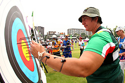 Karen Hultzer of South Africa (Home town - Muizenburg) during the ranking round of the Women's Individual Archery held at Lords Cricket ground in London as part of the London 2012 Olympics on the 27st July 2012.Photo by Ron Gaunt/SPORTZPICS