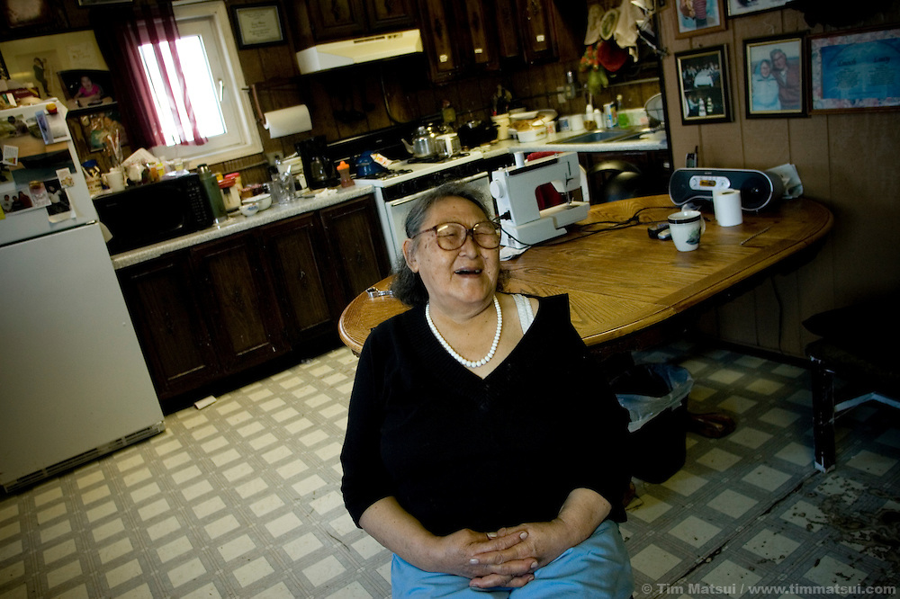 May 2, 2008 -- Kivalina, AK, U.S.A..75 year-old Lucy Adams, an advocate for preservation of the native way of life and a life-long resident of the 400 person native village of Kivalina, Alaska. Kivalina is suing 20 oil companies for property damage related to global warming; the ocean pack ice forms later and melts earlier, leaving the town vulnerable to erosive winter storms and endangering their traditional subsistence lifestyle. (Photo by Tim Matsui)