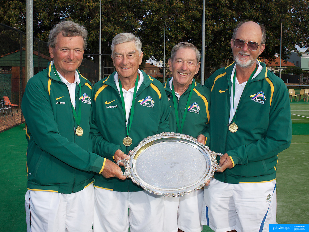 Jack Crawford Cup Winners, Australia, left to right, Bob Howes, Ian King, Tony Harkin, Ian McDonald during the 2009 ITF Super-Seniors World Team and Individual Championships at Perth, Western Australia, between 2-15th November, 2009.