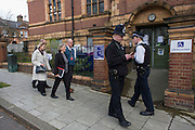 Council and court officials arrive at Carnegie Library in Herne Hill, south London to serve an eviction notice while occupiers remain inside the premises on day 9 of its occupation, 8th April 2016. The angry local community in the south London borough have occupied their important resource for learning and social hub for the weekend. After a long campaign by locals, Lambeth have gone ahead and closed the library's doors for the last time because they say, cuts to their budget mean millions must be saved. (Photo by Richard Baker / In Pictures via Getty Images).