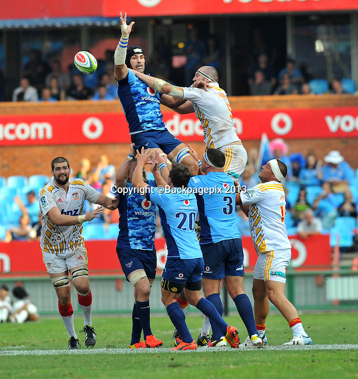 Victor Matfield of the Bulls during the Super Rugby match between the Bulls and the Chiefs at Loftus Stadium in Pretoria on the 29 March 2014 ©Samuel Shivambu/BackpagePix