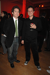 Left to right, actor TOM HOLLANDER and artist JONATHAN YEO at the Art Plus Drama party Held at the Whitechapel Art Gallery, London E1 on 8th March 2007. <br />