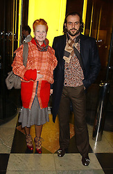 Top British fashion designer VIVIENNE WESTWOOD and her husband MR ANDREAS KRONTHALER at a reception to celebrate the opening of Anna Piaggi Fashion-ology and Popaganda: The Fashion and Style of JC de Castelbajac at the V&A Museum, London on 31st January 2006.<br />