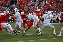 03 September 2016:  Dalton Keene and Brent Spack look for ball carrier Jarrett Morgan. NCAA FCS Football game between Valparaiso Crusaders and Illinois State Redbirds at Hancock Stadium in Normal IL (Photo by Alan Look)