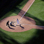 NEW YORK, NEW YORK - June 01:  Michael Conforto #30 of the New York Mets batting in the late afternoon sunshine during the Chicago White Sox  Vs New York Mets regular season MLB game at Citi Field on June 01, 2016 in New York City. (Photo by Tim Clayton/Corbis via Getty Images)