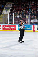 KELOWNA, BC - MARCH 03: Referee Tyler Adair stands on the ice at the Kelowna Rockets against the Portland Winterhawks at Prospera Place on March 3, 2019 in Kelowna, Canada. (Photo by Marissa Baecker/Getty Images)