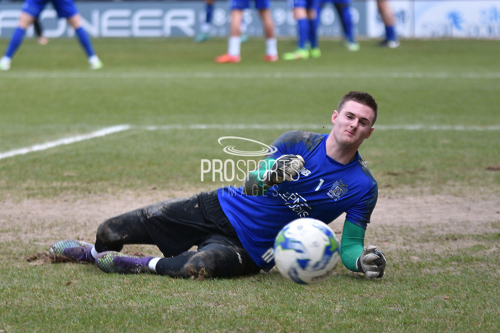 Bury Goalkeeper, Ian Lawlor warms up during the Sky Bet League 1 match between Bury and Bradford City at the JD Stadium, Bury, England on 5 March 2016. Photo by Mark Pollitt.