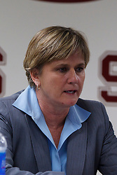 Dec 20, 2011; Stanford CA, USA;  Tennessee Lady Volunteers assistant head coach Holly Warlick during a press conference after the game against the Stanford Cardinal at Maples Pavilion.  Stanford defeated Tennessee 97-80. Mandatory Credit: Jason O. Watson-US PRESSWIRE