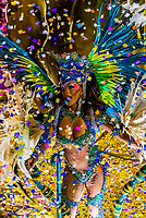 Performers on floats in the Carnaval parade of Inocentes de Belford Roxo samba school in the Sambadrome, Rio de Janeiro, Brazil.