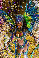 Performers on floats in the Carnaval parade of Inocentes de Belford Roxo samba school in the Sambadrome, Rio de Janeiro, Brazil.