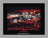 Signed and numbered 19x24 poster of Downtown Cincinnati lit up at night as seen from Mount Adams. First place winner of Light Up Cincinnati 1993.