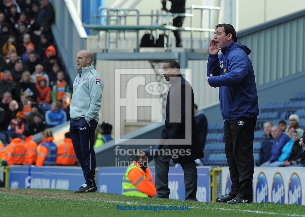 Picture by Alan Wright/Focus Images Ltd 07733 196489.29/03/2013.Gary Bowyer, caretaker manager of Blackburn Rovers shouts instructions to his players during the npower Championship league match against Blackpool at Ewood Park, Blackburn.
