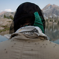 Clouds of mosquitoes make head nets a permanent accessory during our time in Sixty Lakes Basin.