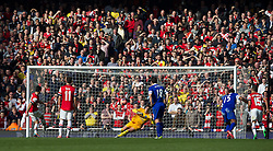 08.03.2014, Emirates Stadium, London, ENG, FA Cup, FC Arsenal vs FC Everton, Viertel Finale, im Bild Arsenal's captain Mikel Arteta scores the second goal against Everton's goalkeeper Joel Robles from the penalty spot at the second attempt // during the English FA Cup quater final match between Arsenal FC and Everton FC at the Emirates Stadium in London, Great Britain on 2014/03/08. EXPA Pictures © 2014, PhotoCredit: EXPA/ Propagandaphoto/ David Rawcliffe<br /> <br /> *****ATTENTION - OUT of ENG, GBR*****