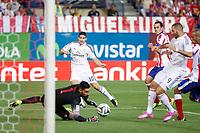 Atletico de Madrid´s goalkeeper Moya and Real Madrid´s James Rodriguez during 2014 Supercopa de España `Spain Supercup´ second leg match at Vicente Calderon stadium. August 22, 2014. (ALTERPHOTOS/Victor Blanco)