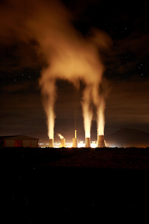 Coal mines and power stations in Ptolemaida, a city located north of Kozani, in west Macedonia, northern Greece. .Agios Dimitrios power station by night.
