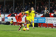 George Francomb and Alex Addai  during the EFL Sky Bet League 2 match between Crawley Town and Cheltenham Town at the Broadfield Stadium, Crawley, England on 5 January 2019.