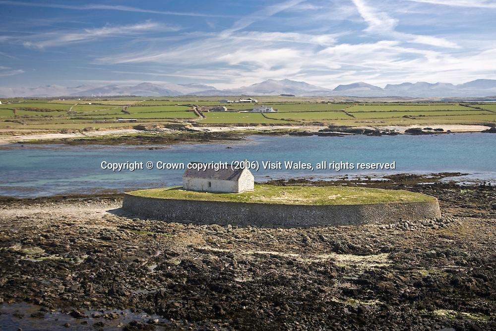 St Cwyfan's Church<br /> Porth Cwyfan (near Aberffraw)<br /> Churches<br /> Religious<br /> Aerial<br /> North<br /> Historic Sites