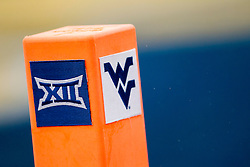 Nov 28, 2015; Morgantown, WV, USA; The Big 12 and West Virginia Mountaineers logo is seen on a pylon during the first quarter at Milan Puskar Stadium. Mandatory Credit: Ben Queen-USA TODAY Sports