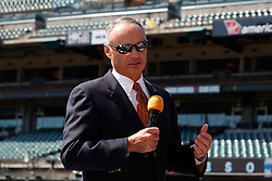 SAN FRANCISCO, CA - JUNE 25:  Commissioner of Major League Baseball Rob Manfred speaks before the game between the San Francisco Giants and the San Diego Padres at AT&T Park on June 25, 2015 in San Francisco, California.  (Photo by Jason O. Watson/Getty Images) *** Local Caption *** Rob Manfred