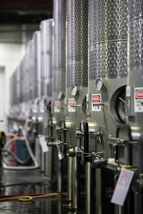 stainless steel wine tanks in a Saint Helena winery.