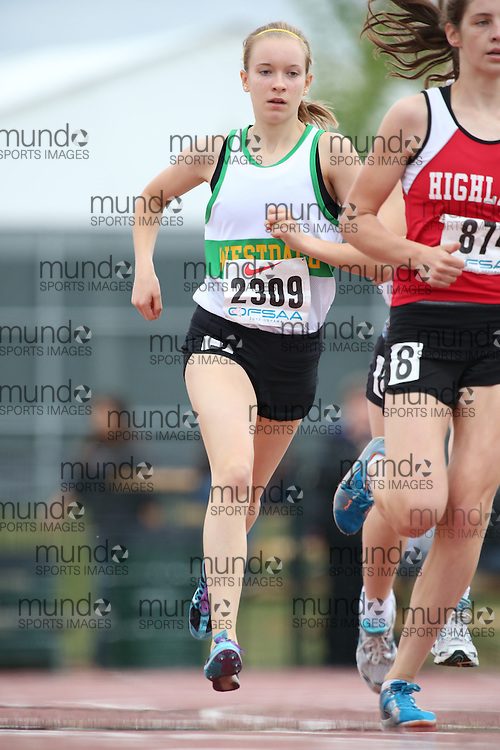 Chloe Hewitt of Westdale SS - Hamilton competes in the 800m heats at the 2013 OFSAA Track and Field Championship in Oshawa Ontario, Thursday,  June 6, 2013.<br /> Mundo Sport Images / Sean Burges