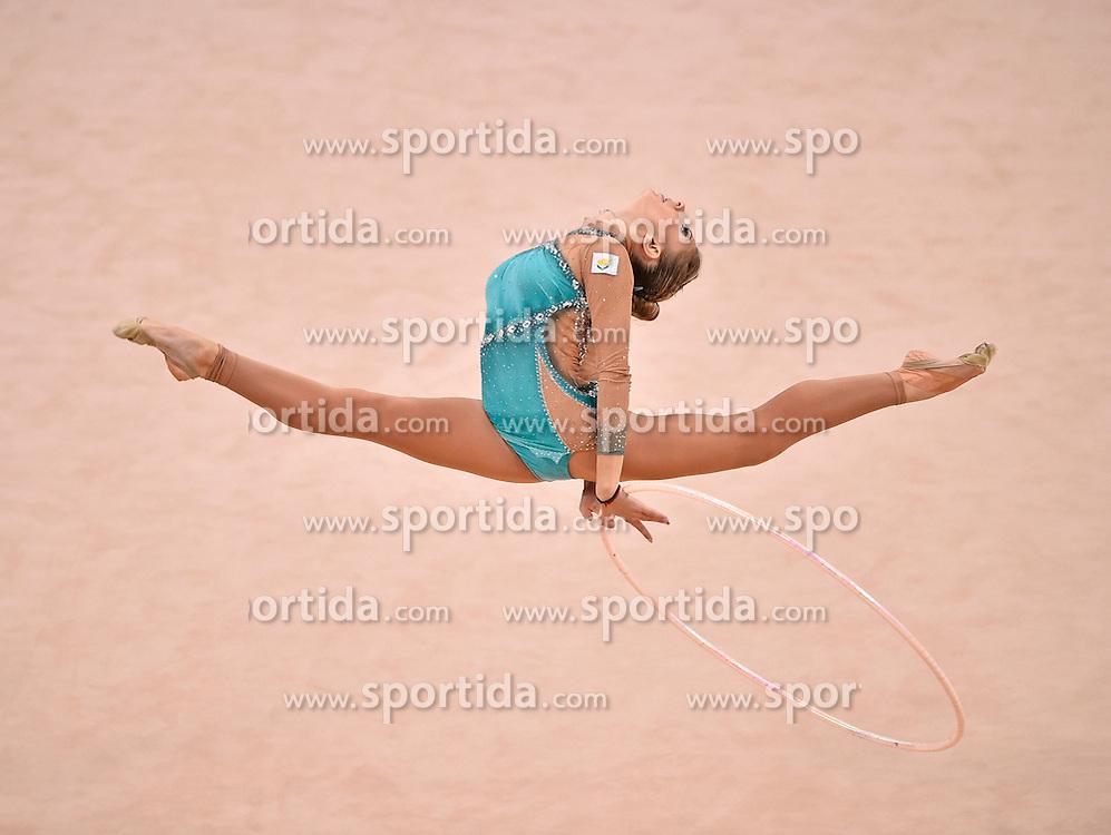 08.09.2015, Porsche Arena, Stuttgart, GER, Gymnastik WM, Gruppe D, im Bild Themida Christodoulidou (CYP) Reifen // during the World Rhythmic Gymnastics Championships at the Porsche Arena in Stuttgart, Germany on 2015/09/08. EXPA Pictures &copy; 2015, PhotoCredit: EXPA/ Eibner-Pressefoto/ Weber<br /> <br /> *****ATTENTION - OUT of GER*****